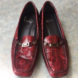 Stuart Weitzman dark red leather loafers